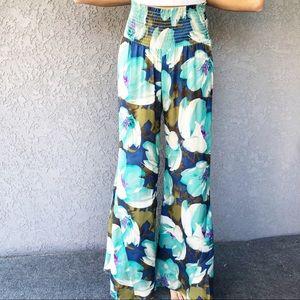 Show me your mumu blue floral sheer palazzo pants